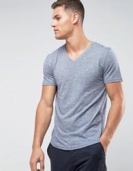 Tom Tailor V-Neck T-Shirt In Melange Cotton - Navy