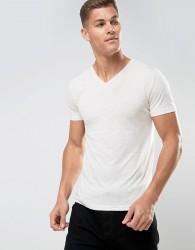 Tom Tailor V-Neck T-Shirt In Melange Cotton - White