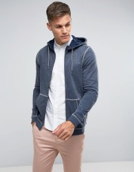 Tom Tailor Zip Through Hoodie With Contrast Seams - Navy