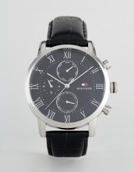 Tommy Hilfiger 1791401 Kane Chronograph Leather Watch In Black - Black