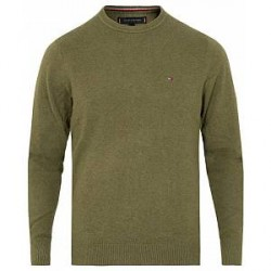 Tommy Hilfiger Cotton/Cashmere Crew Neck Pullover Dusty Olive Heather