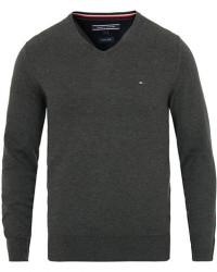 Tommy Hilfiger Cotton/Silk V-Neck Pullover Charcoal Heather men L Grå