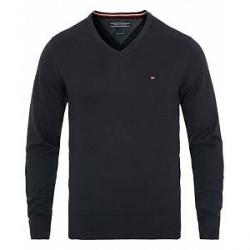 Tommy Hilfiger Cotton/Silk V-Neck Pullover Sky Captain