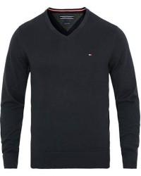 Tommy Hilfiger Cotton/Silk V-Neck Pullover Sky Captain men XL Blå