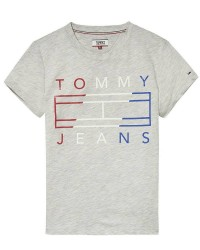 Tommy Hilfiger Denim Women DW0DW04074 Tommy Flag Logo Tee (Lysegrå, LARGE)