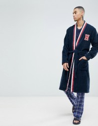 Tommy Hilfiger dressing gown with H logo and stripe shawl collar in navy - Navy