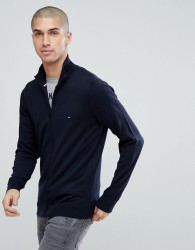 Tommy Hilfiger Full Zip Knit Cardigan Plaited Cotton Silk in Navy - Navy