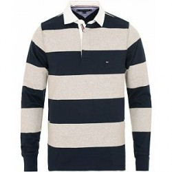 Tommy Hilfiger Iconic Block Stripe Rugby Sky Captain/Cloud Heather