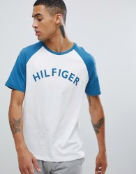 Tommy Hilfiger logo raglan baseball t-shirt in white/blue - White