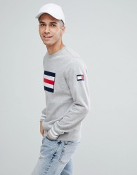 Tommy Hilfiger Ramone Large Icon Flag Sweatshirt in Grey Marl - Grey