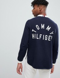 Tommy Hilfiger stand collar back logo applique rugby long sleeve relaxed fit in navy - Navy