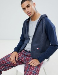 Tommy Hilfiger sweat zip thru hoodie with contrast panels in navy and grey - Navy