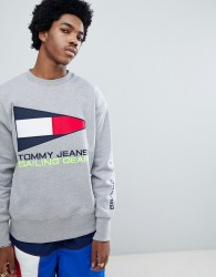 Tommy Jeans 90s Sailing Capsule Flag Logo Crew Neck Sweatshirt in Grey Marl - Grey