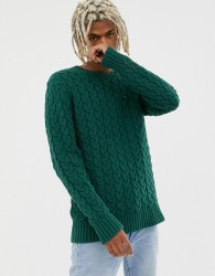 Tommy Jeans cable knit flag logo jumper in green - Green