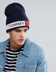 Tommy Jeans Flag Logo Beanie in Navy - Navy