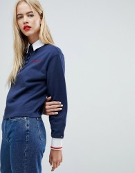 Tommy Jeans Rugby Shirt With Scribble Logo - Navy