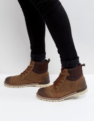 TOMS Ashland Waterproof Leather Lace Up Boots - Brown