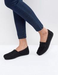 TOMS Black Crochet Lace Shoes - Black