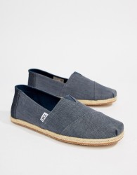 TOMS Classic Linen Espadrilles In Chambray - Blue