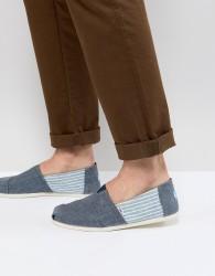 TOMS Classic Linen Espadrilles In Stripe - Blue