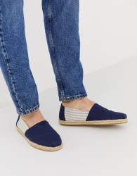 TOMS espadrilles in navy linen with rope detail - Navy
