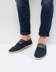 TOMS Lace Up Espadrilles In Navy - Navy