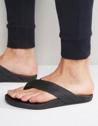 Toms Semana Leather Flip Flops - Black