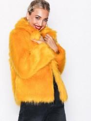 Topshop Faux Fur Coat Faux Fur Mustard