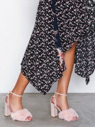 Topshop Faux Fur Heeled Sandals High Heel Light Pink