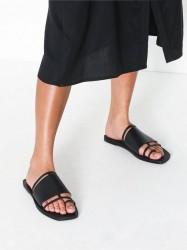 Topshop FORTUNE Black Flat Sandals Sandaler