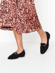 Topshop LANA Black Tortoiseshell Trim Loafers Loafers