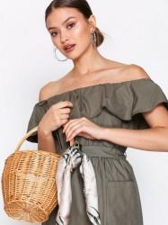 Topshop Shelly Straw Basket Bag Håndtaske Natural
