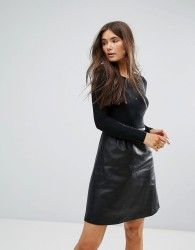 Traffic People 2-In-1 Dress With Pu Skirt - Black