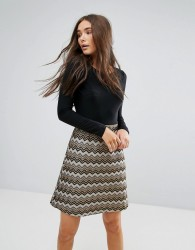 Traffic People 2-In-1 Dress With Textured Skirt - Multi