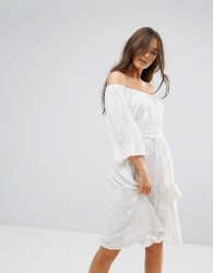 Traffic People 3/4 Sleeve Belted Lace Dress - White