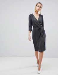 Traffic People 3/4 Sleeve Wrap Midi Dress - Navy