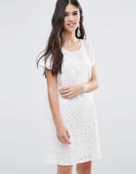 Traffic People A Line Dress In Daisy Lace - White