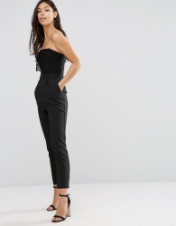 Traffic People Bandeau Jumpsuit With Crochet Overlay - Black
