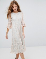 Traffic People Contrast Lace Overlay Midi Dress With Frill Sleeve - Blue