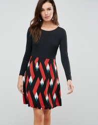 Traffic People Double Take Dress With Graphic Print Skirt - Multi