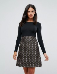 Traffic People Double Take Dress With Jacquard Skirt - Multi