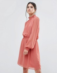Traffic People Dress With Frill Neck - Pink