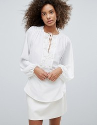 Traffic People Embroidered Long Sleeve Top - White