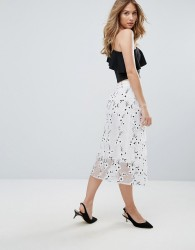Traffic People Embroidered Midi Skirt - Black
