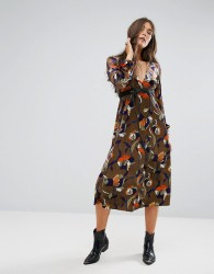 Traffic People Floral Midi Dress - Multi