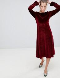 Traffic People Flute Sleeve Velvet Midi Dress - Brown