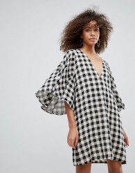 Traffic People Gingham Kimono Sleeve Shift Dress - Black