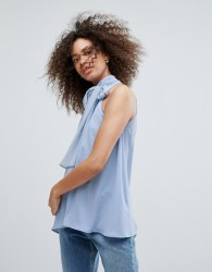 Traffic People High Neck Top With Bow Detail - Blue