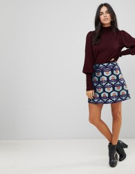 Traffic People Jacquard A Line Skirt - Navy