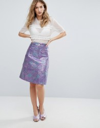 Traffic People Jacquard Bloom Midi Skirt - Purple